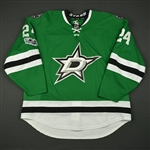 Benn, Jordie<br>Green Set 2 w/ NHL Centennial Patch - One Game Only - Worn January 14<br>Dallas Stars 2016-17<br>#24 Size: 58