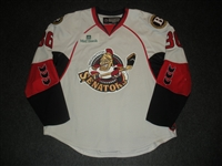 Zubov, Ilya<br>White Set 1 w/ 2008 AHL All-Star Classic patch<br>Binghamton Senators 2007-08<br>#36 Size: 56