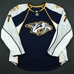 de Vries, Greg *<br>Navy Set 1 (RBK Version 1.0)<br>Nashville Predators 2008-09<br>#7 Size: 56