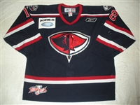 Johnson, Gregg<br>Navy Set 1 w/Kelly Cup Patch<br>South Carolina Stingrays 2009-10<br>#18 Size: 56