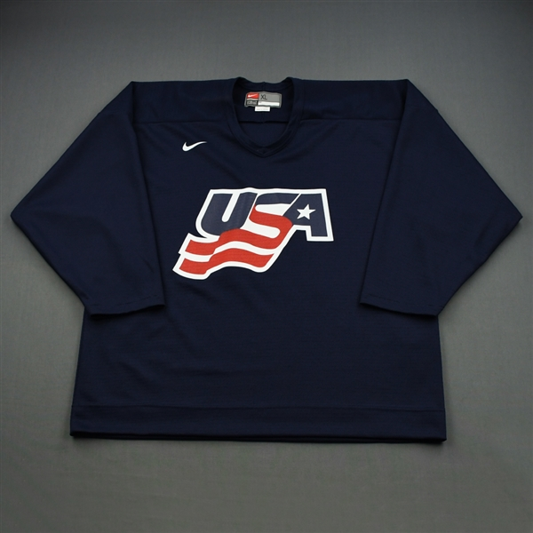 Brown, Dustin * <br>Blue, U.S. Olympic Mens Orientation Camp Worn Jersey, Signed<br>USA 2009<br>#23 Size: XL