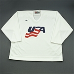 Malone, Ryan * <br>White, U.S. Olympic Mens Orientation Camp Issued Jersey, Signed<br>USA 2009<br>#12 Size: XXL
