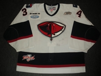 Ford, Todd<br>White Set 1 w/Kelly Cup Patch<br>South Carolina Stingrays 2009-10<br>#34 Size: 58G