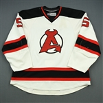 Larsson, Adam<br>White 2nd half w/A removed<br>Albany Devils 2012-13<br>#5 Size: 58