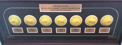 Serena Williams vs. Victoria Azarenka<br>Framed - Road to the Championship - Womens Finals<br>US Open 2013<br>#2 of 3 Size:12.5 inches high X 31 inches wide by 3 1/2 inches