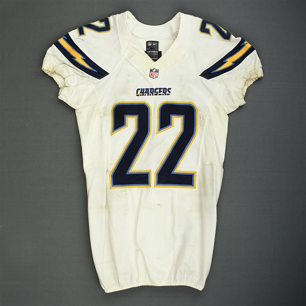 Cox, Derek<br>White Playoffs - worn 1/5/14 vs. Cincinnati and 1/12/14 vs. Denver<br>San Diego Chargers 2013<br>#22 Size: 40 SKILL
