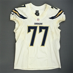 Dunlap, King<br>White Playoffs - worn 1/5/14 vs. Cincinnati and 1/12/14 vs. Denver<br>San Diego Chargers 2013<br>#77 Size: 52 LINE