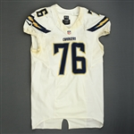 Fluker, D.J.<br>White Playoffs - worn 1/5/14 vs. Cincinnati and 1/12/14 vs. Denver<br>San Diego Chargers 2013<br>#76 Size: 52 LINE