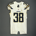 Gilchrist, Marcus<br>White Playoffs - worn 1/5/14 vs. Cincinnati and 1/12/14 vs. Denver<br>San Diego Chargers 2013<br>#38 Size: 40 L-BK