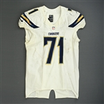 Guy, Lawrence<br>White Playoffs - worn 1/5/14 vs. Cincinnati and 1/12/14 vs. Denver<br>San Diego Chargers 2013<br>#71 Size: 46 L-BK