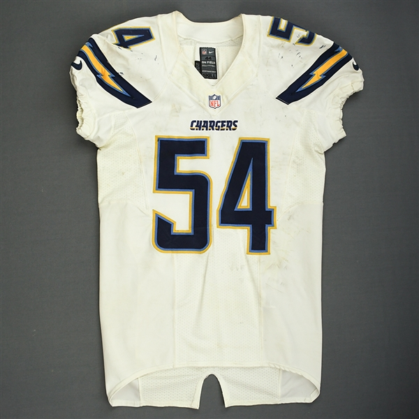 Ingram, Melvin<br>White Playoffs - worn 1/5/14 vs. Cincinnati and 1/12/14 vs. Denver<br>San Diego Chargers 2013<br>#54 Size: 44 SKILL