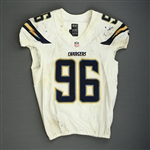 Johnson, Jarret<br>White Playoffs - worn 1/5/14 vs. Cincinnati and 1/12/14 vs. Denver<br>San Diego Chargers 2013<br>#96 Size: 46 L-BK