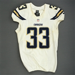 McClain, LeRon<br>White Playoffs - worn 1/5/14 vs. Cincinnati and 1/12/14 vs. Denver<br>San Diego Chargers 2013<br>#33 Size: 44 L-BK
