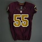 Barnett, Nick<br>Burgundy and Gold Throwback - worn November 3, 2013 vs. San Diego Chargers<br>Washington Redskins 2013<br>#55 Size: 44 L-BK