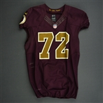 Bowen, Stephen<br>Burgundy and Gold Throwback - worn November 3, 2013 vs. San Diego Chargers<br>Washington Redskins 2013<br>#72 Size: 48 LINE