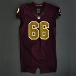Chester, Chris<br>Burgundy and Gold Throwback - worn November 3, 2013 vs. San Diego Chargers<br>Washington Redskins 2013<br>#66 Size: 46 LINE