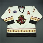 Brocklehurst, Aaron<br>White Set 1 w/A<br>Gwinnett Gladiators 2009-10<br>#21 Size: 54