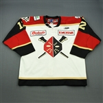 Lombardi, Matt<br>White Set 1 w/ 20th Anniversary Patch<br>Wheeling Nailers 2011-12<br>#12 Size: 56
