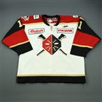 Minella, Christiaan<br>White Set 1 w/ 20th Anniversary Patch<br>Wheeling Nailers 2011-12<br>#11 Size: 56