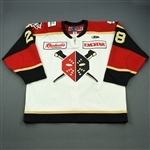 Tolles, Joe<br>White Set 1 w/ 20th Anniversary Patch<br>Wheeling Nailers 2011-12<br>#28 Size: 58