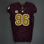 Cofield, Barry<br>Burgundy and Gold Throwback - worn November 3, 2013 vs. San Diego Chargers w/ Captains C<br>Washington Redskins 2013<br>#96 Size: 48 LINE