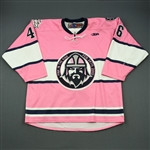 Flanigan, Ryan * <br>Pink Set from Pink in the Rink Night<br>Greenville Road Warriors 2012-13<br>#46 Size:54