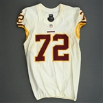 Bowen, Stephen<br>White, Worn Sunday September 15, 2013 vs. Green Bay Packers<br>Washington Redskins 2013<br>#72 Size:48 LINE
