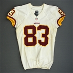 Davis, Fred<br>White, Worn Sunday September 15, 2013 vs. Green Bay Packers<br>Washington Redskins 2013<br>#83 Size:42 SKILL