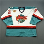 Polglase, Clark * <br>White, IHL 50th anniversary patch<br>Detroit Vipers 1994-95<br>#3 Size: 54