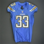 McClain, LeRon<br>Powder Blue - worn October 14, 2013 vs Indianapolis<br>San Diego Chargers 2013<br>#33 Size: 44 L-BK