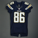 Brown, Vincent<br>Navy - Worn November 10, 2013 vs. Denver Broncos<br>San Diego Chargers 2013<br>#86 Size: 40 SKILL