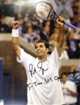Sampras, Pete<br>Autographed 8x10 with inscription of  5-Time US Open Champion<br> 2012