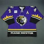 Clarke, Noah * <br>Purple Set 1 w/ 5th anniversary shoulder patches<br>Manchester Monarchs 2005-06<br>#24 Size: 54