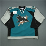 Stafford, Garrett * <br>Teal Set 1<br>Worcester Sharks 2006-07<br>#8 Size: 56