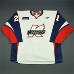 Anthony, Steven<br>White Set 1<br>Kalamazoo Wings 2011-12<br>#21 Size: 58