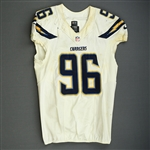 Johnson, Jarret<br>White - Worn November 3, 2013 at Washington<br>San Diego Chargers 2013<br>#96 Size: 46 L-BK