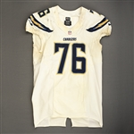Fluker, D.J.<br>White - Worn November 3, 2013 at Washington<br>San Diego Chargers 2013<br>#76 Size: 52 LINE