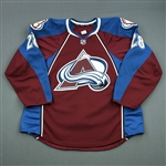 Carey, Paul<br>Burgundy Set 1 / Playoffs - NHL DEBUT<br>Colorado Avalanche 2013-14<br>#28 Size: 56