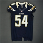 Ingram, Melvin<br>Navy - worn November 1, 2012 vs. Kansas City<br>San Diego Chargers 2012<br>#54 Size: 44