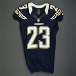 Jammer, Quentin<br>Navy - worn November 1, 2012 vs. Kansas City<br>San Diego Chargers 2012<br>#23 Size: 40
