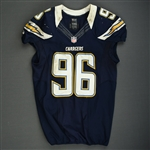 Johnson, Jarret<br>Navy - worn November 1, 2012 vs. Kansas City<br>San Diego Chargers 2012<br>#96 Size: 46
