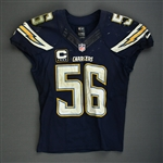 Butler, Donald<br>Navy - Worn December 29, 2013 vs. Kansas City Chiefs w/ Captains C<br>San Diego Chargers 2013<br>#56 Size: 44 SKILL