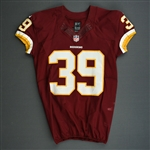 Amerson, David<br>Burgundy, Worn October 13, 2013 vs. Dallas Cowboys<br>Washington Redskins 2013<br>#39 Size:42 SKILL