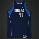 Nowitzki, Dirk * <br>Navy Set 2 - Worn in 16 games - Photo-Matched to 6 Games<br>Dallas Mavericks 2007-08<br>#41 Size: 54+4