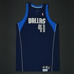 Nowitzki, Dirk * <br>Navy Set 2 - Worn in 23 games -Photo-Matched to 6 Games<br>Dallas Mavericks 2008-09<br>#41 Size: 54+4