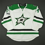 Benn, Jordie<br>White Set 3 w/ NHL Centennial Patch<br>Dallas Stars 2016-17<br>#24 Size: 56