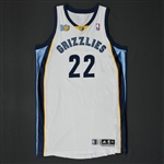 Gay, Rudy * <br>White Regular Season w/10th Anniversary Patch - Photo-Matched to 11 Games<br>Memphis Grizzlies 2010-11<br>#22 Size: XXL