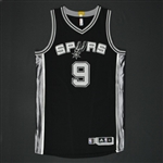 Parker, Tony * <br>Black Playoffs Jersey  - Photo-Matched to Games 1 and 2 vs. Los Angeles Clippers (WCQF)<br>San Antonio Spurs 2014-15<br>#9 Size:XL+2
