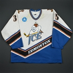 NOBR * * <br>White - w/Chrysler patch- CLEARANCE<br>Edmonton Ice 1996-98<br>#35 Size: 56