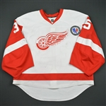 Howard, Jimmy * <br>White Set 1 -  w/ Hockey Hall of Fame Patch restored - Photo-Matched<br>Detroit Red Wings 2015-16<br>#52 Size: 58G